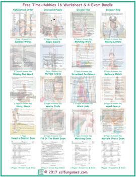 Free Time-Hobbies 16 Worksheet- 4 Exam Bundle