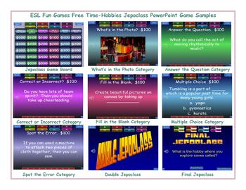 Free Time-Hobbies Jeopardy PowerPoint Game