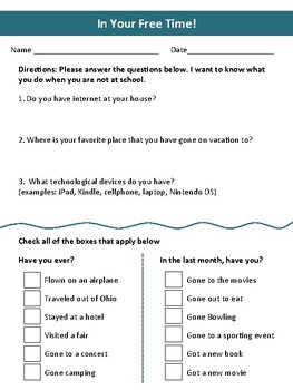 Free Time Student Survey