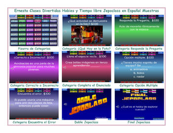 Free Time and Hobbies Spanish Jeopardy Game
