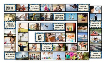 Free Time and Hobbies Spanish Legal Size Photo Board Game
