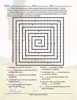 Free Time and Hobbies Word Spiral Spanish Worksheet