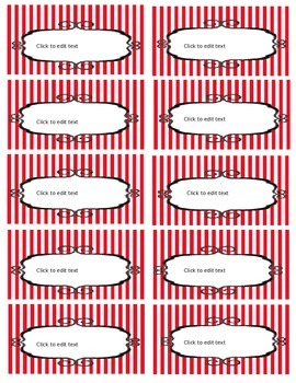 Free Toolbox Labels  (Editable) Red and White Stripes