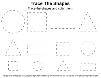 free tracing shapes worksheet by janet 39 s educational printables tpt. Black Bedroom Furniture Sets. Home Design Ideas