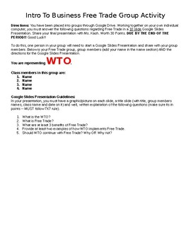 Free Trade Assignments - Intro to Business Ch. 10