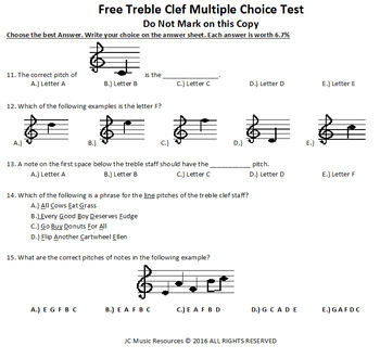 Free Treble clef Multiple Choice Music Test