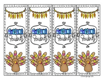 Free Turkey Bookmarks