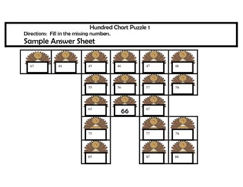 Free Turkey Hundred Chart Puzzles