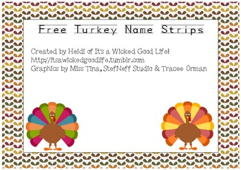 Free Turkey Name Strips
