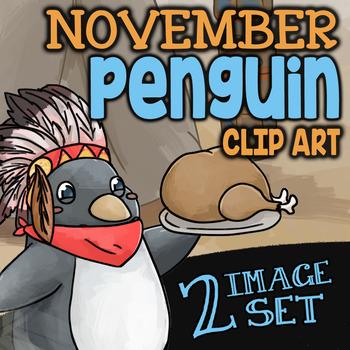 Free TURKEY SERVED BY CUTE PENGUIN Clipart ✦ Freebie is Part of Seasonal Set