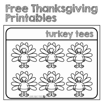 Free Turkey Tees Printable - Speech Therapy -Thanksgiving Printable