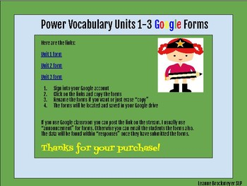Free Units 1-3  Google Form Power Vocabulary Pre / Post tests!