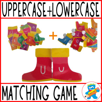 Free Uppercase-Lowercase game. Matching Rain Boots.