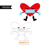 Free Valentine Clip art - Heart character with face mask
