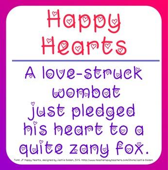Free Valentine Font: Happy Hearts (True Type Font)