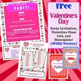 Free Valentine Party Party Note, Valentine List, and Nameplates