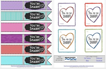 Free Valentine's Day Gift Tags for Students:  Add to school supplies!