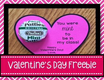 """Free Valentine's Card """"You Were Mint To Be In My Class"""""""