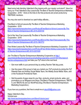 Free Valentine's Day Lessons By The Best of Teacher Entrepreneurs MC - 2016