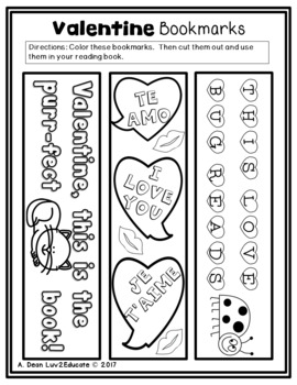 Free Valentine's Day Reading Bookmarks