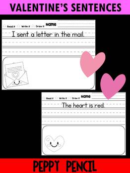 Free Valentine's Day Simple Sentences - Kindergarten, First Grade, Peppy Pencil