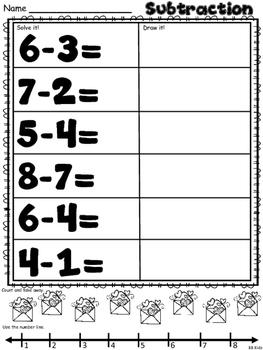 Free Valentine's Day Subtraction Page for Kindergarten
