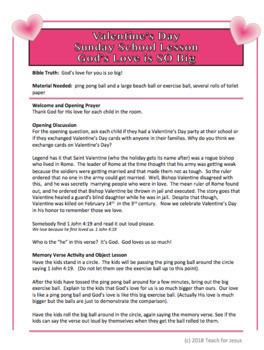 Sunday School Lesson   Free Valentine's Day Lesson