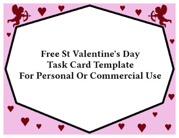 Free Valentine's Day Task Card Template for Commercial Use