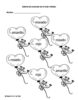 Free Valentine's Spanish Worksheets!