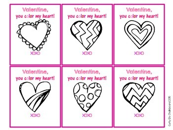 Free Valentine, you color my heart! Printable Valentine Cards
