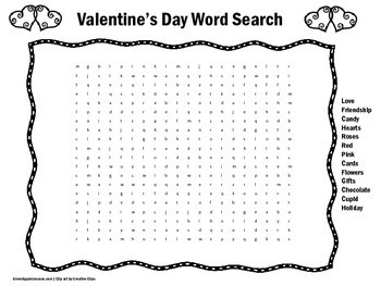 Valentines Day Worksheet | Word Search