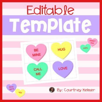 Free Valentine's Day Editable Conversation Heart Flashcards