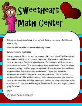 Free Valentines Math Center