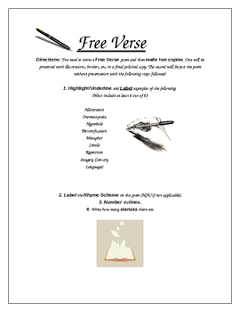 Free Verse & Other Poetic Devices project