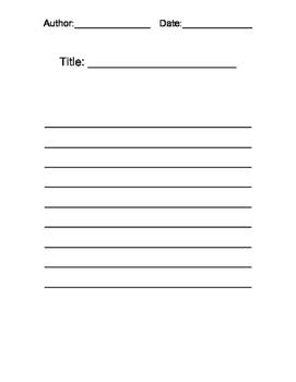 Free Verse Poetry Graphic Organizer W.2.1 AL22a