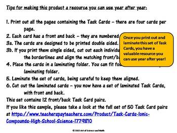 Free Version - Task Cards - Ionic Compounds - High School Science