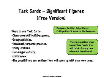 Free Version - Task Cards - Significant Figures - High School Science and Math