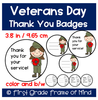Free Veterans Day Thank You Badges