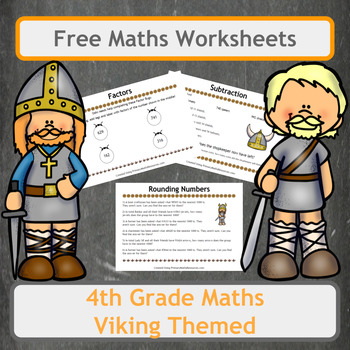 Free Viking Themed Maths Worksheets for 4th Grade Classes
