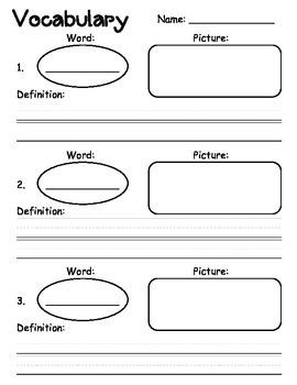 Free Vocabulary Graphic Organizer