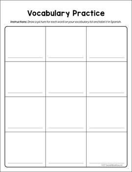 Free Vocabulary Pracitce Charts (Drawing and Labeling)