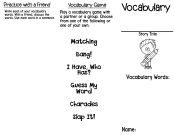 Vocabulary Tri-fold (Marzano vocabulary)
