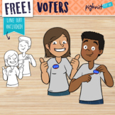 Free Voter Clipart of Boy and Girl With Voting Stickers