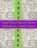 Free Vowel Spinner Game Worksheets - Insect Theme