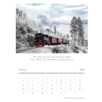Free Wall Calendar for 2020 with Beautiful Pictures