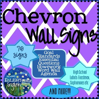 70 Free Wall Signs in Chevron (Secondary ELA)