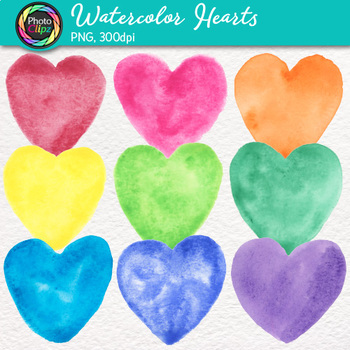 Free Watercolor Hearts Clip Art {Hand-Painted Graphics for Valentine's Day}