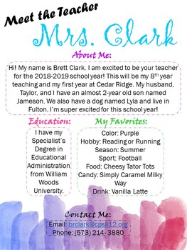 Free Watercolor Meet the Teacher Letter