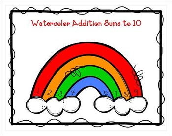 FREE: Watercolor Rainbow Sums to 10!