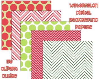 Free- Watermelon Themed Digital Papers